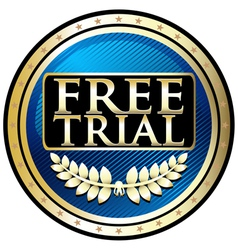 Free Trial Blue Emblem vector image vector image