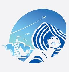Girl and sea vector