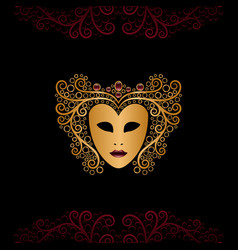 Golden mask with curly hair vector