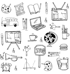 Hand draw tools school doodles vector