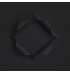 Hole in black paper vector image