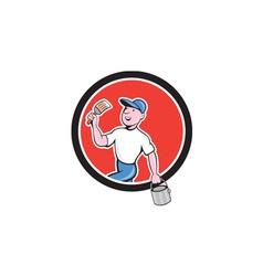 House Painter Holding Paintbrush Bucket Cartoon vector image