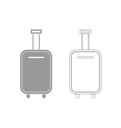 luggage bag grey set icon vector image