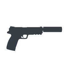 pistol handgun with silencer gun on white vector image vector image
