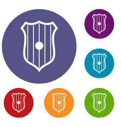 Protective shield icons set vector