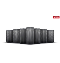 Realistic rubber tires banner vector