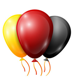 Realistic yellow red black balloons with ribbons vector