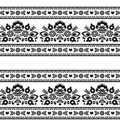 Seamless polish black folk pattern with flowers vector