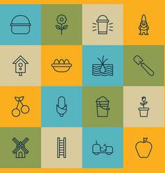 Set of 16 farm icons includes taste apple vector