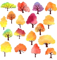Set of different autumn trees by watercolor vector