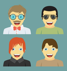 Set of people icons in flat style with faces men vector