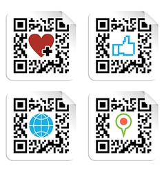 Set of qr codes with social media icons vector