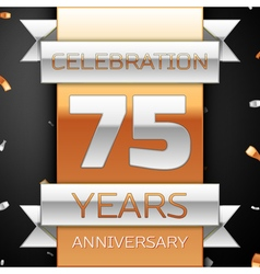 Seventy five years anniversary celebration golden vector image
