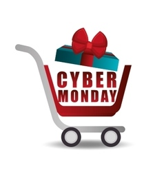 shopping cart gift cyber monday vector image