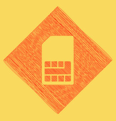 Sim card sign red scribble icon obtained vector