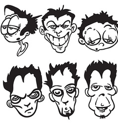 simple black and white bunch of cartoon faces vector image