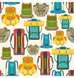 Tourist Camping Backpack Background Pattern vector image