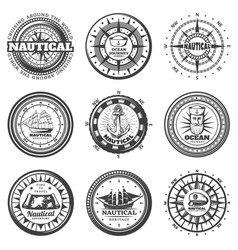 vintage monochrome round nautical labels set vector image vector image