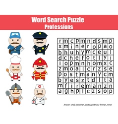 Word search puzzle for children professions theme vector