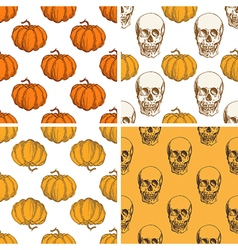Patterns with pumpkin and skull vector