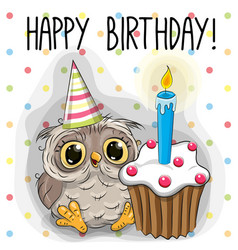 Greeting card cute cartoon owl vector
