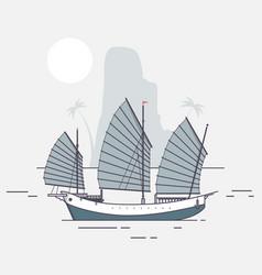 Junk boat sailing vector