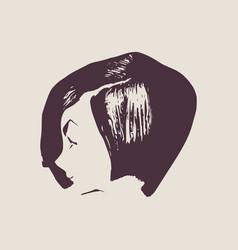 Little girl profile silhouette vector