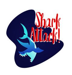 shark - modern phrase flat vector image