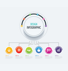 6 abstract circle infographic number business vector