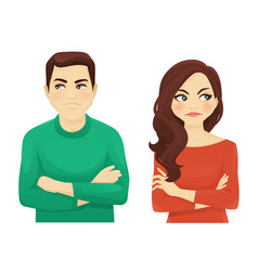 Woman and man angry emotion vector