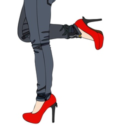 Jeans and sexy red high heels vector
