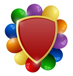 Red shield with a bunch of colorful balloons vector