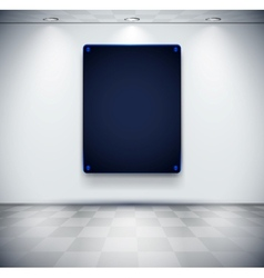 White room with black glass screen placeholder vector