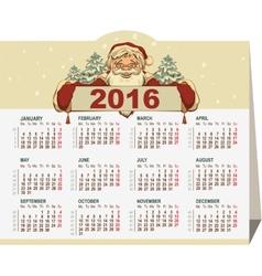 2016 calendar Santa Claus holding banner vector image