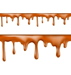 Sweet caramel drips seamless patterns vector