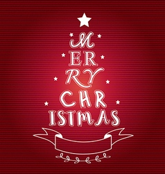 Merry christmas tree typo vector