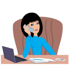 Business woman speaks on the phone vector