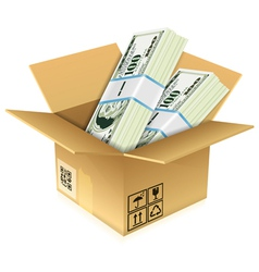 Cardboard box with dollar bills vector
