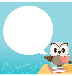 Owl teaching on table with speech bubble vector