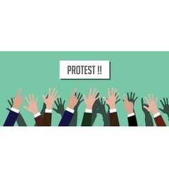 Protest people crowd with hands vector