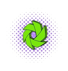 Green camera aperture icon comics style vector