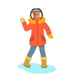 African girl in winter clothes throwing snowball vector