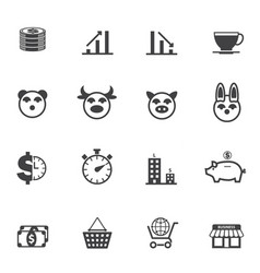 Business and finance icons with texture background vector