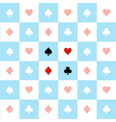 Card suits blue white chess board background vector