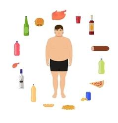 Cartoon fat man and unhealthy food vector
