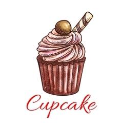 Cupcake sketch icon patisserie emblem vector