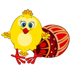 Cute funny chick with Easter egg vector image vector image