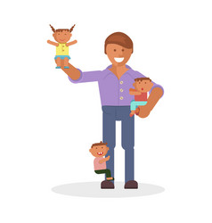 dad and children vector image vector image