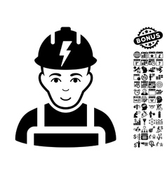 Electrician Flat Icon With Bonus vector image