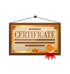 flat color certificate icon isolated on white vector image